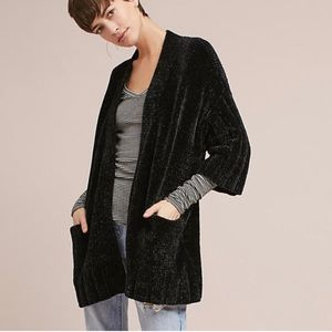 Anthropologie Moth black chenille cardigan - SMALL